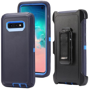 For Samsung Galaxy S10e Shockproof Drop-proof Dust-proof PC TPU Hybrid Case with Belt Clip - Baby Blue / Dark Blue