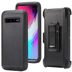 For Samsung Galaxy S10 Plus Mobile Shell Shockproof Drop-proof Dust-proof PC TPU Case with Belt Clip - All Black