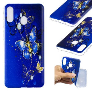 Pattern Printing TPU Mobile Case Shell for Samsung Galaxy M20 - Blue Butterfly