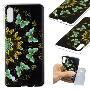Pattern Printing Soft TPU Phone Case for Samsung Galaxy M10 - Colorized Butterflies