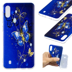 Pattern Printing Soft TPU Phone Case for Samsung Galaxy M10 - Blue Butterfly