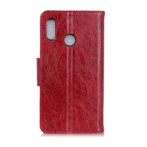 Nappa Texture Split Leather Wallet Case for Samsung Galaxy M20 - Red