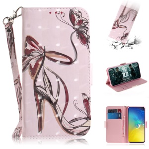 For Samsung Galaxy S10e Patterned PU Leather Stand Phone Cover [Light Spot Decor] - High Heel Sandal