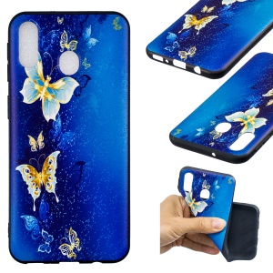 Pattern Printing Embossed TPU Shell Case for Samsung Galaxy M20 - Butterfly Pattern