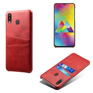 PU Leather Coated PC Mobile Cover with [Dual Card Slots] for Samsung Galaxy M30 - Red