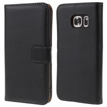 Genuine Split Leather Wallet Case Stand for Samsung Galaxy S7 G930 - Black