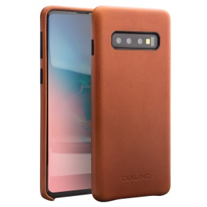 QIALINO Cowhide Leather Back Cover Shell Case for Samsung Galaxy S10 Plus - Brown