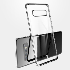 Série X-LEVEL Madrugada Eletroplated Bordas Limpar Capa Dura PC Para Samsung Galaxy S10 - Preto