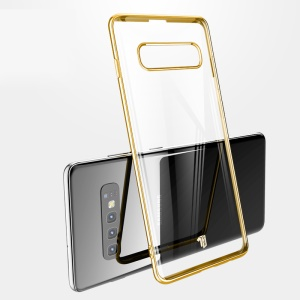 X-LEVEL Dawn Series Electroplated Edges Clear PC Hard Cover for Samsung Galaxy S10 - Gold