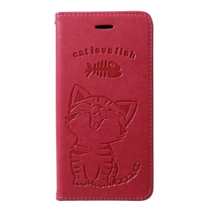 Imprint Cat and Fish Bone [Wallet Stand] Leather Flip Case Cover for Samsung Galaxy M10 - Rose
