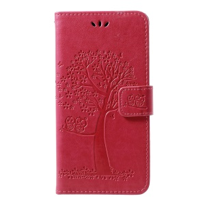Imprint Tree Owl Leather Wallet Stand Case for Samsung Galaxy M20 - Rose