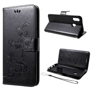 Imprint Butterfly Flowers Leather Wallet Case for Samsung Galaxy M20 - Black