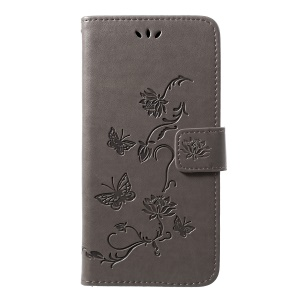 Imprint Butterfly Flowers Leather Wallet Case for Samsung Galaxy M20 - Grey