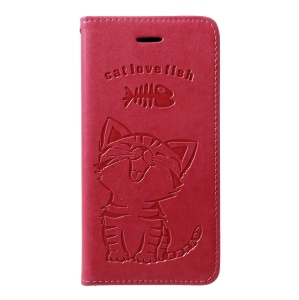 Imprint Cat and Fish Bone [Wallet Stand] Leather Phone Shell for Samsung Galaxy M20 - Rose