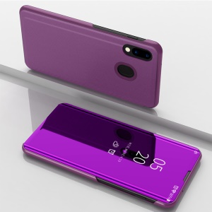 Electroplating Mirror Surface View Window Leather Stand Case for Samsung Galaxy M20 - Light Purple