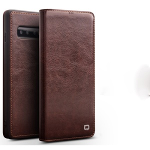 QIALINO Classic Folio Cowhide Leather Case for Samsung Galaxy S10 Plus - Brown