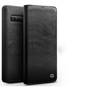 QIALINO Classic Folio Cowhide Leather Card Holder Case for Samsung Galaxy S10 - Black