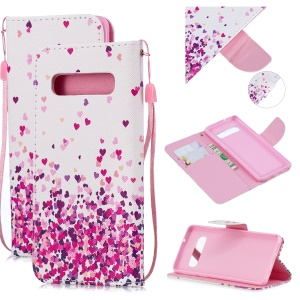 For Samsung Galaxy S10 Pattern Printing Wallet Stand Case with Strap - Falling Heart