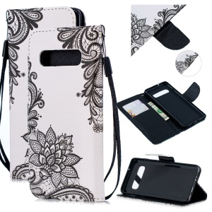 For Samsung Galaxy S10e Pattern Printing Wallet Flip Case with Strap - Black Flowers
