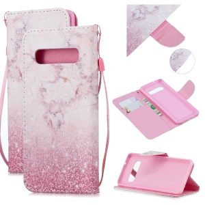For Samsung Galaxy S10e Pattern Printing Wallet Flip Case with Strap - Pink Marble