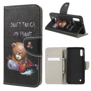 Cross Texture Patterned Leather Wallet Case for Samsung Galaxy M10 - Angry Bear and Warning Words