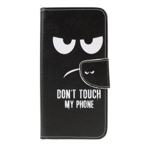 Cross Texture Patterned Leather Wallet Case for Samsung Galaxy M10 - Do Not Touch My Phone