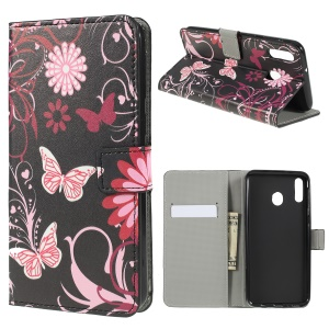 Pattern Printing Wallet Leather Flip Case for Samsung Galaxy M20 - Butterfly and Flower