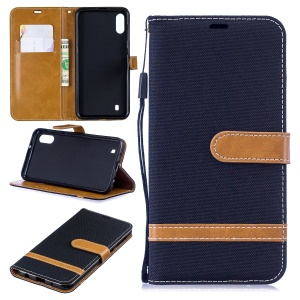 For Samsung Galaxy M10 Assorted Color Jeans Cloth Wallet Leather Cover Shell - Black