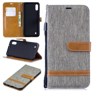 For Samsung Galaxy M10 Assorted Color Jeans Cloth Wallet Leather Cover Shell - Grey