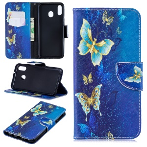 Pattern Printing Leather Wallet Stand Case for Samsung Galaxy M20 - Butterfly Pattern