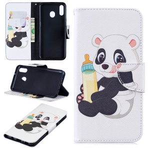 Pattern Printing Wallet Leather Stand Case for Samsung Galaxy M20 - Panda Holding a Bottle