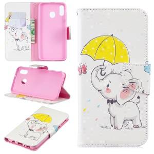 Pattern Printing Wallet Leather Stand Case for Samsung Galaxy M20 - Elephant Holding an Umbrella