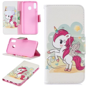 Pattern Printing Wallet Leather Stand Case for Samsung Galaxy M20 - Unicorn
