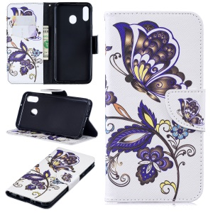 Pattern Printing Wallet Leather Stand Case for Samsung Galaxy M20 - Butterfly Pattern
