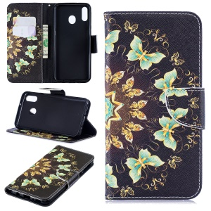 Pattern Printing Wallet Leather Stand Case for Samsung Galaxy M20 - Colorized Butterfly