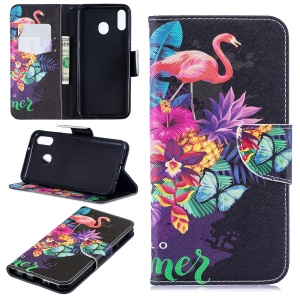 Pattern Printing Wallet Leather Stand Case for Samsung Galaxy M20 - Crane and Flowers