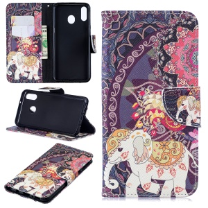 Pattern Printing Wallet Leather Stand Case for Samsung Galaxy M20 - Flower and Elephant