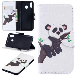Pattern Printing Wallet Leather Stand Case for Samsung Galaxy M20 - Panda Climbing Tree