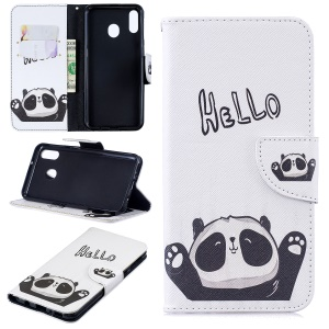 Pattern Printing Wallet Leather Stand Case for Samsung Galaxy M20 - Cute Panda