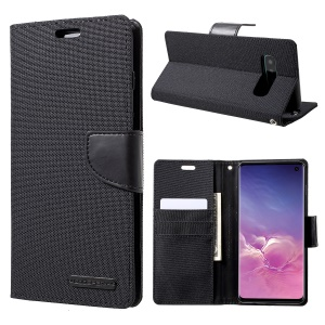 MERCURY GOOSPERY Canvas Diary Leather Wallet Phone Cover for Samsung Galaxy S10 - Black