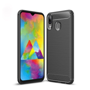 Carbon Fiber Texture Brushed TPU Case for Samsung Galaxy M20 - Black