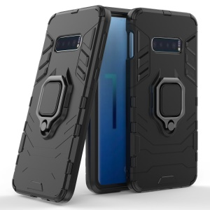 Cool Guard Ring Holder Kickstand PC TPU Hybrid Case for Samsung Galaxy S10e - Black