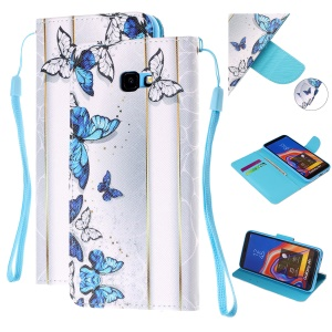 Pattern Printing Magnetic Leather Stand Case for Samsung Galaxy J4+ - Blue and White Butterflies