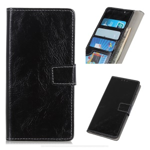 Crazy Horse PU Leather Wallet Phone Case for Samsung Galaxy A50 - Black