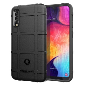 Rugged Square Grid Texture Soft TPU Anti-shock Case for Samsung Galaxy A50 - Black