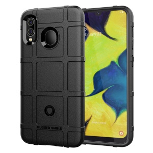 Rugged Square Grid Texture Anti-shock TPU Case for Samsung Galaxy A20/A30 - Black