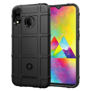Rugged Square Grid Texture Soft TPU Anti-shock Mobile Case for Samsung Galaxy M20 - Black