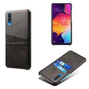Dual Card Slots PU Leather Coated PC Mobile Phone Shell for Samsung Galaxy A50 - Black