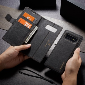 WHATIF Detachable Waterproof Paper Cover PU Leather Phone Case for Samsung Galaxy S10 Plus - Black