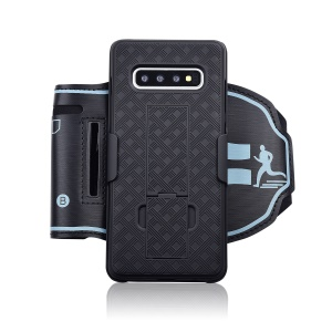 Nylon Sport Armband Woven Pattern PC Phone Cover with Kickstand for Samsung Galaxy S10